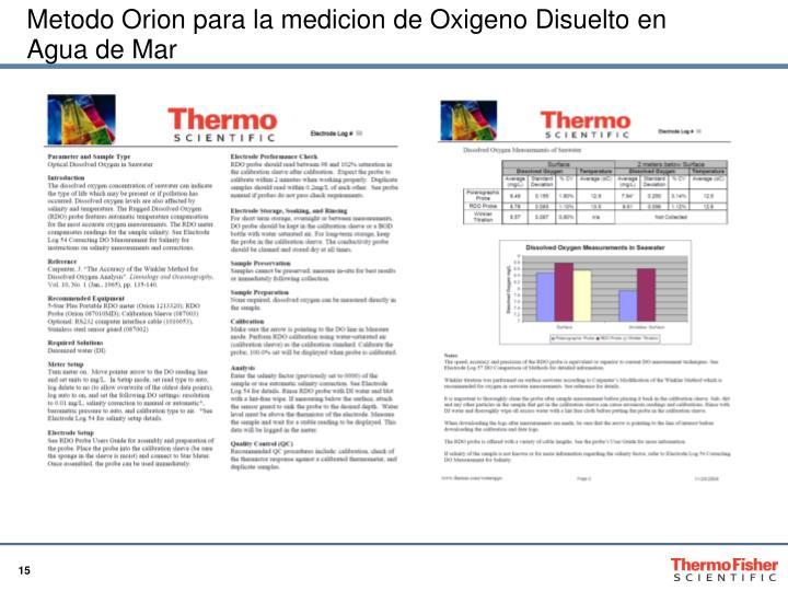 Metodo Orion para la medicion de Oxigeno Disuelto en Agua de Mar