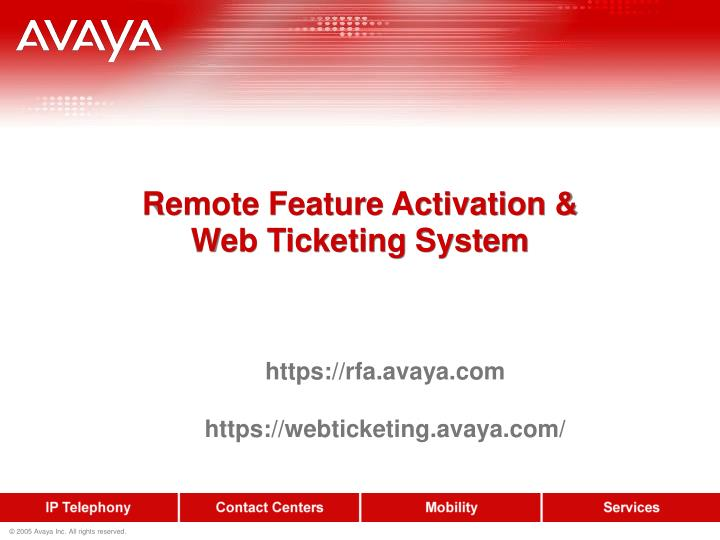 remote feature activation web ticketing system n.