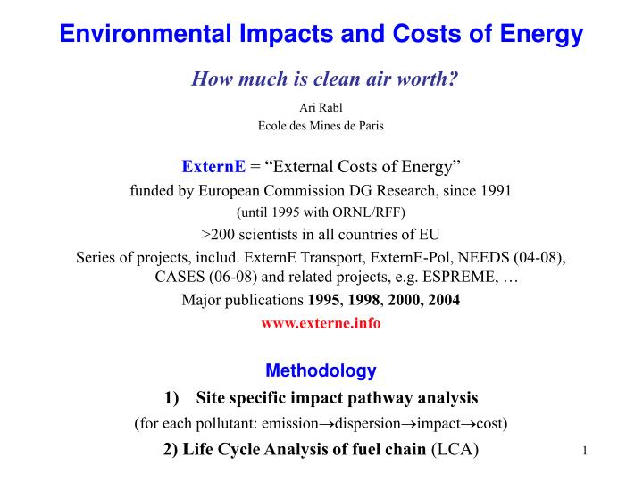 Environmental impacts and costs of energy how much is clean air worth