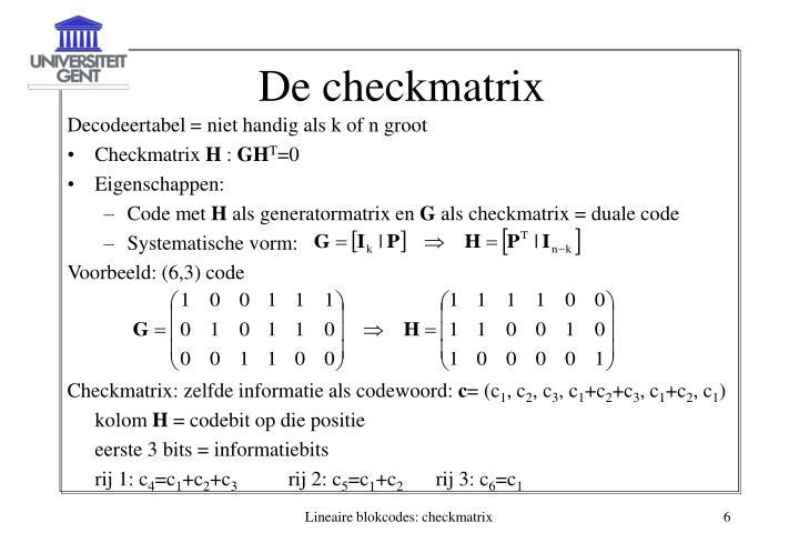 De checkmatrix
