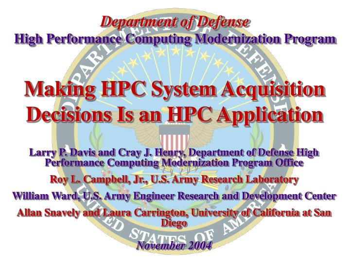making hpc system acquisition decisions is an hpc application n.