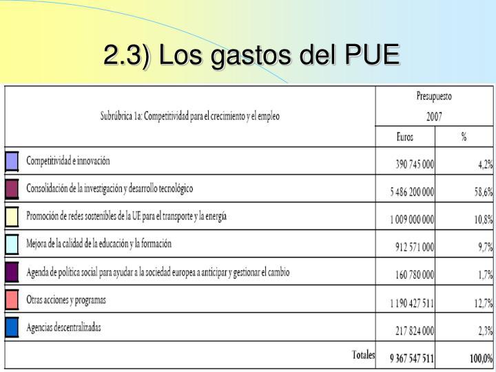 2.3) Los gastos del PUE