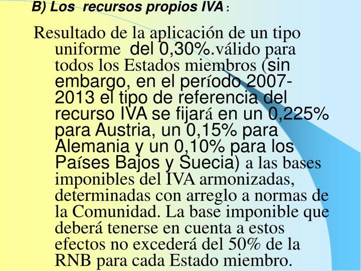 B) Los  recursos propios IVA