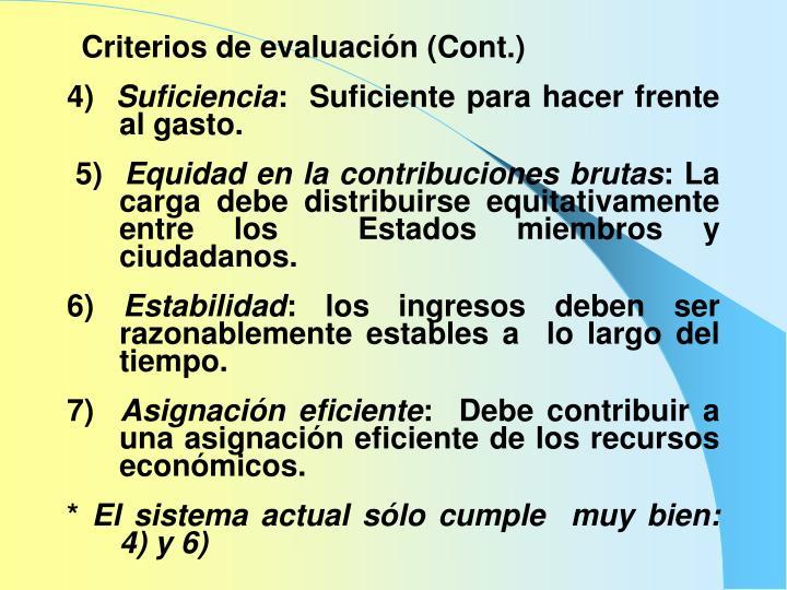 Criterios de evaluación (Cont.)