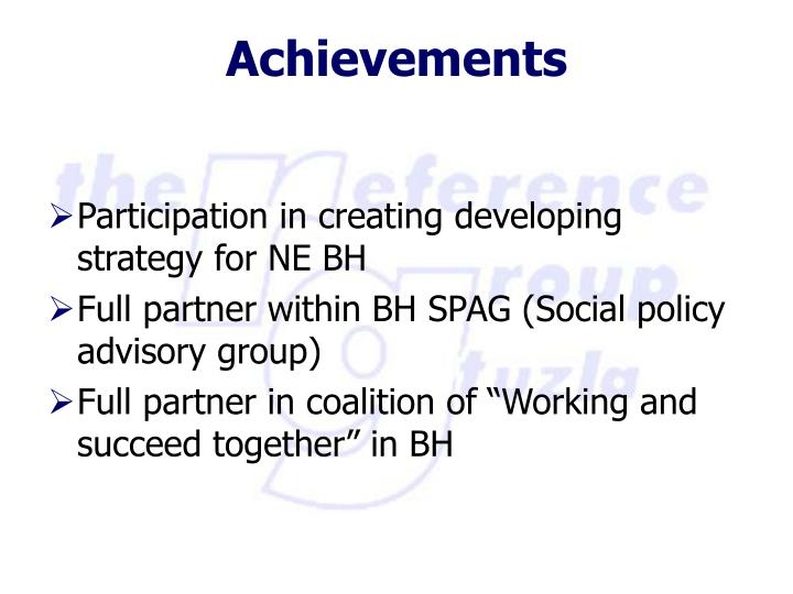 Participation in creating developing strategy for NE BH