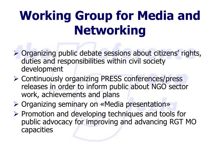 Organizing public debate sessions about citizens' rights, duties and responsibilities within civil society development