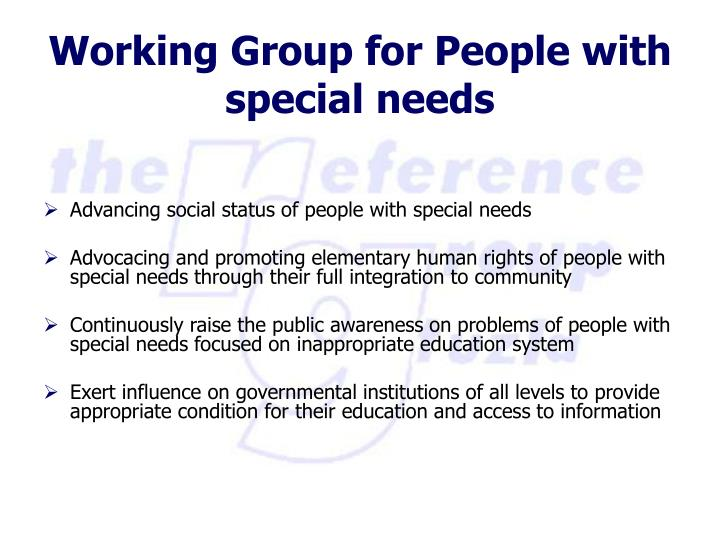 Advancing social status of people with special needs