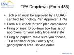 tpa dropdown form 486