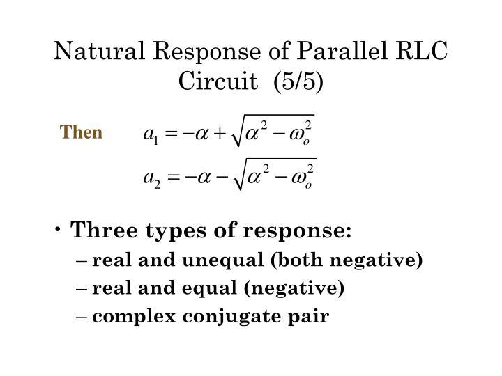 Natural Response of Parallel RLC  Circuit  (5/5)