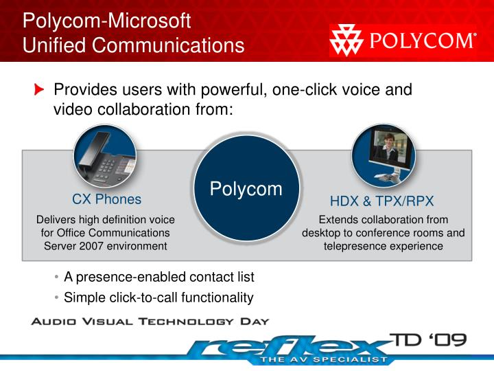 Provides users with powerful, one-click voice and video collaboration from: