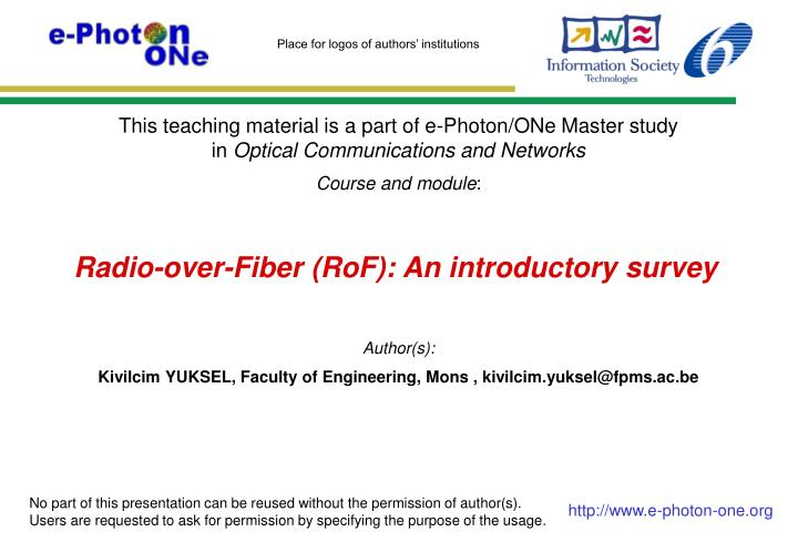 radio over fiber rof an introductory survey n.