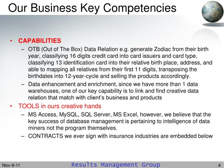 Our Business Key Competencies