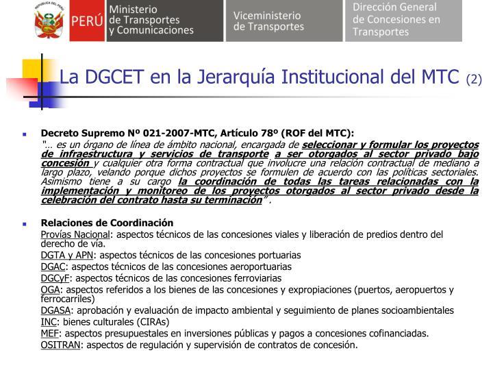 La DGCET en la Jerarquía Institucional del MTC