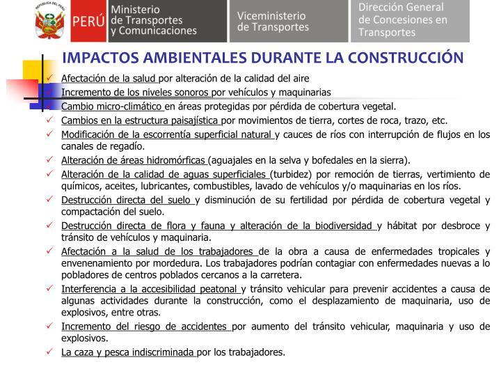 IMPACTOS AMBIENTALES DURANTE LA CONSTRUCCIÓN