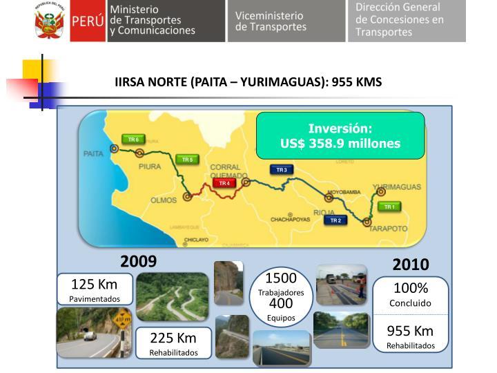 IIRSA NORTE (PAITA – YURIMAGUAS): 955 KMS