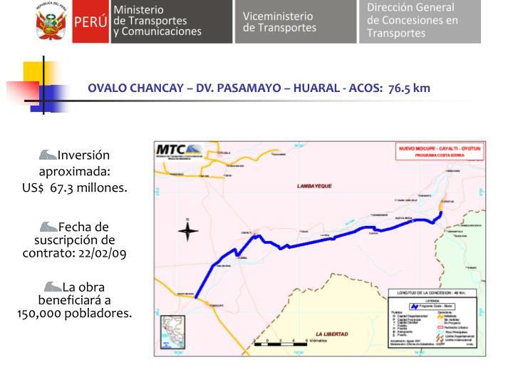OVALO CHANCAY – DV. PASAMAYO – HUARAL - ACOS:  76.5 km