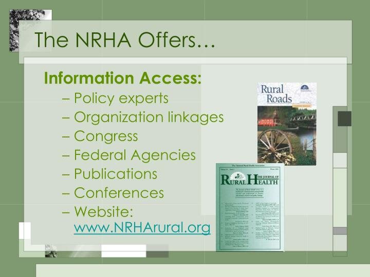 The NRHA Offers…