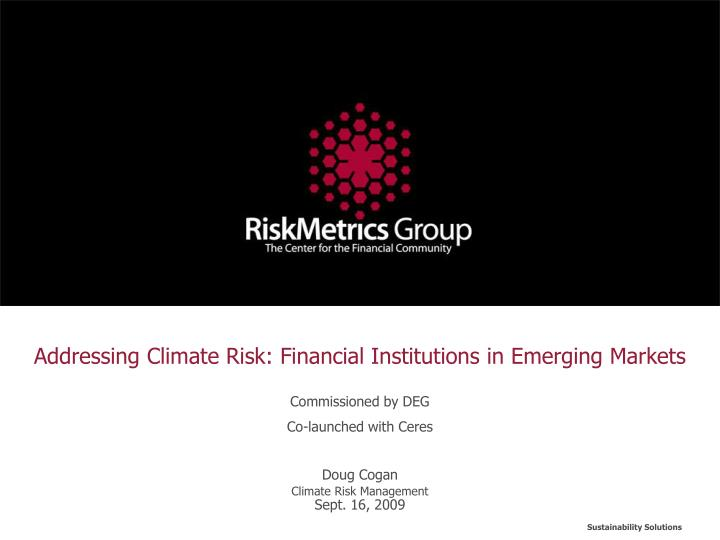 Addressing climate risk financial institutions in emerging markets