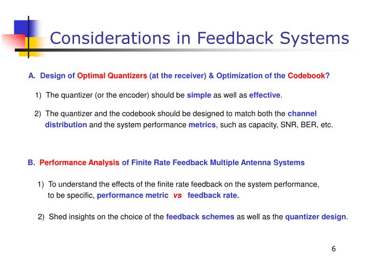Considerations in Feedback Systems