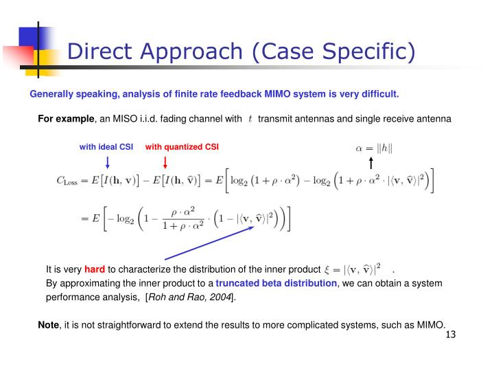 Generally speaking, analysis of finite rate feedback MIMO system is very difficult.
