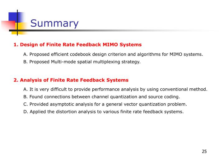 1. Design of Finite Rate Feedback MIMO Systems