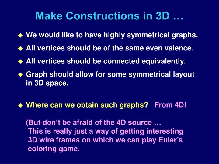 Make Constructions in 3D …