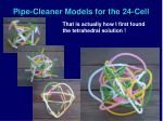 pipe cleaner models for the 24 cell