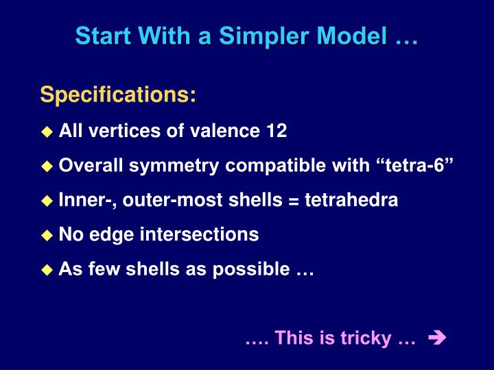 Start With a Simpler Model …