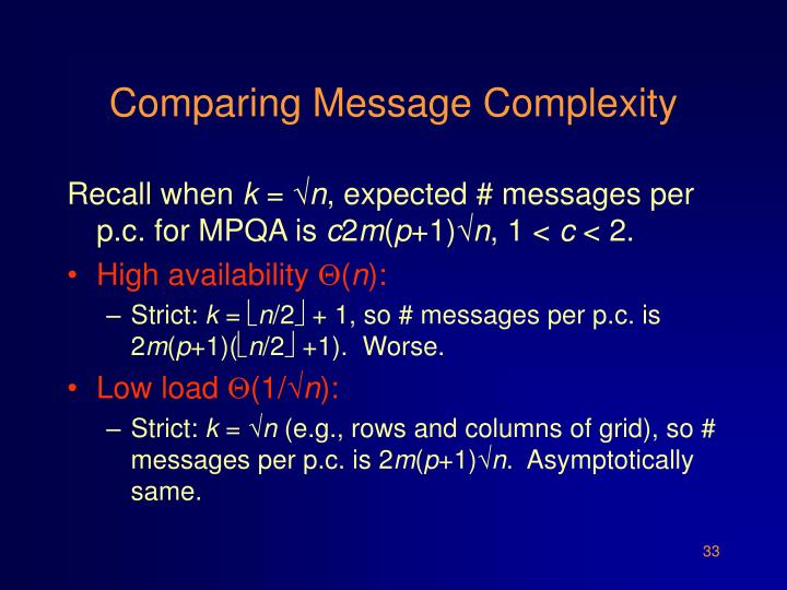 Comparing Message Complexity