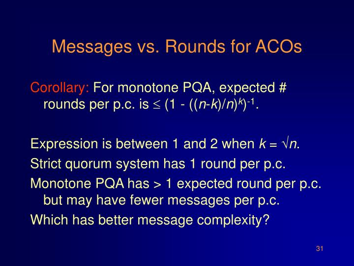 Messages vs. Rounds for ACOs