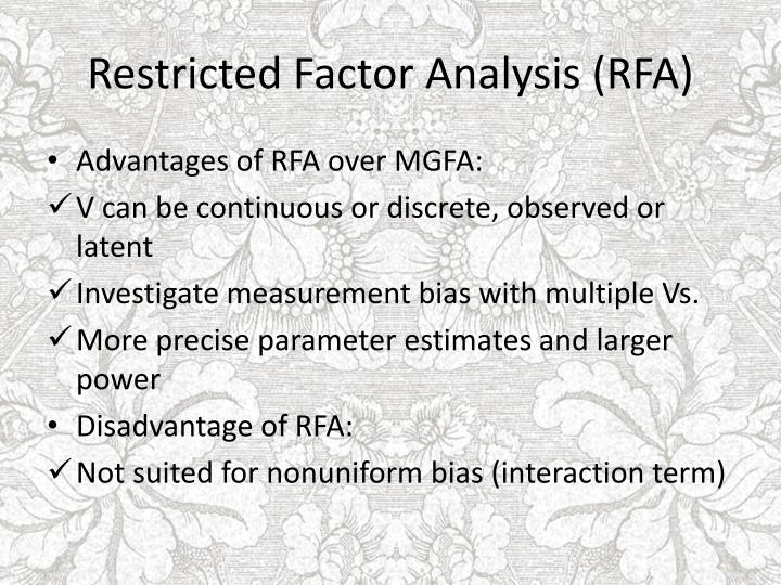 Restricted factor analysis rfa