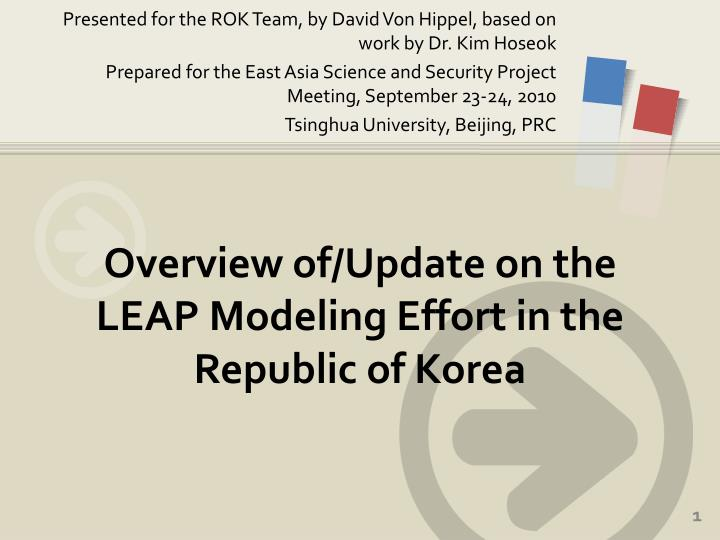overview of update on the leap modeling effort in the republic of korea n.