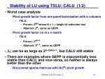 stability of lu using tslu calu 1 2