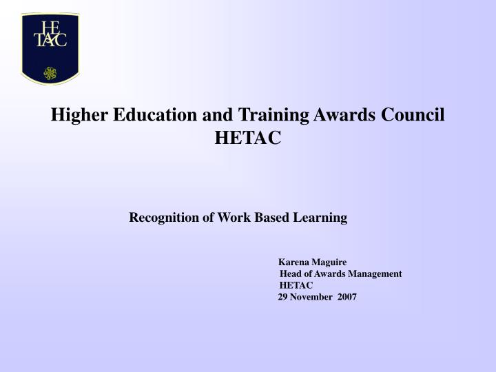higher education and training awards council hetac n.