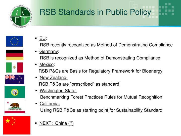 RSB Standards in Public Policy