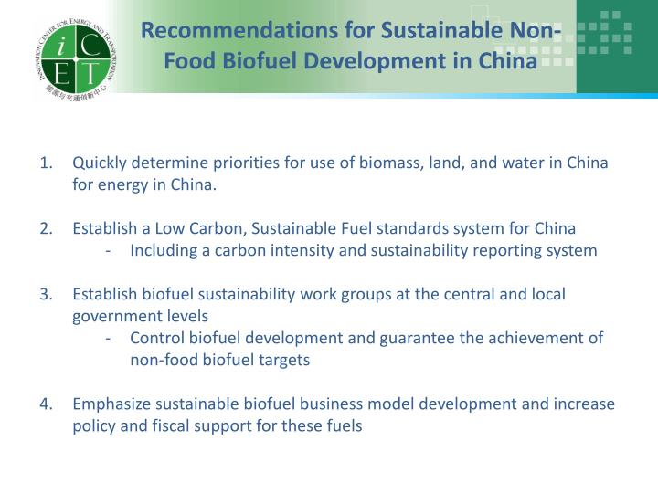 Recommendations for Sustainable