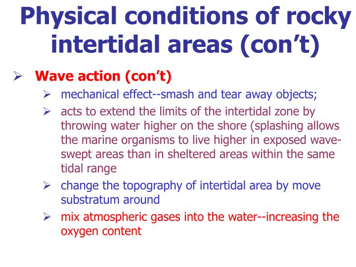 Physical conditions of rocky intertidal areas (con't)