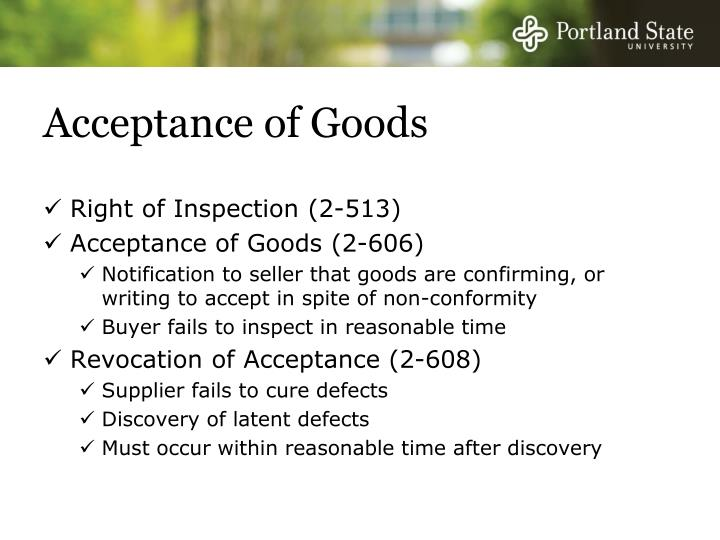 Acceptance of Goods