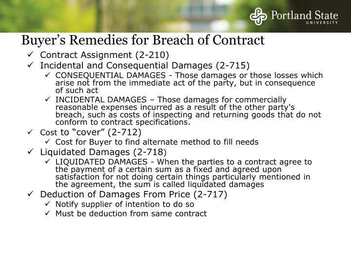 Buyer's Remedies for Breach of Contract