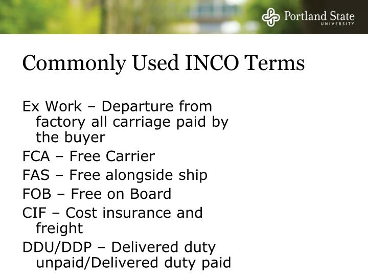 Commonly Used INCO Terms