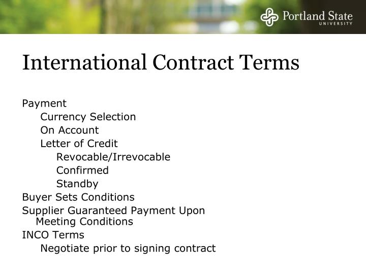 International Contract Terms