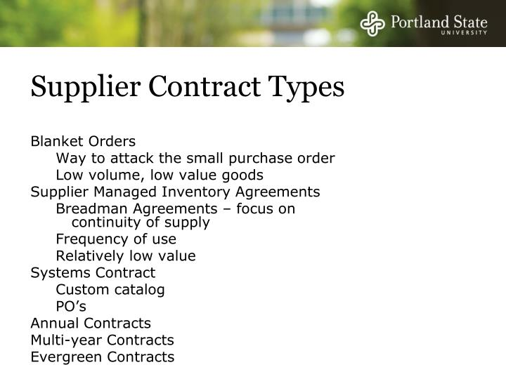 Supplier Contract Types