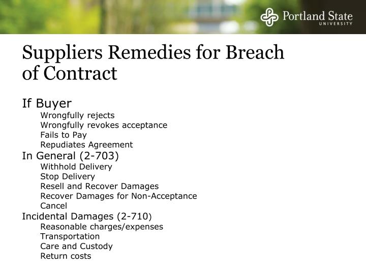 Suppliers Remedies for Breach of Contract