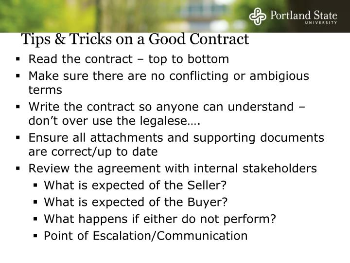Tips & Tricks on a Good Contract