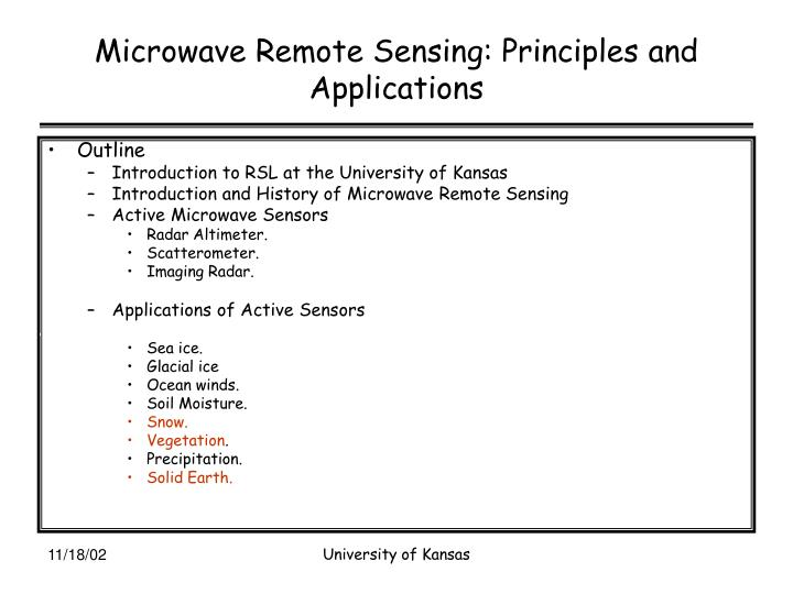 Microwave remote sensing principles and applications