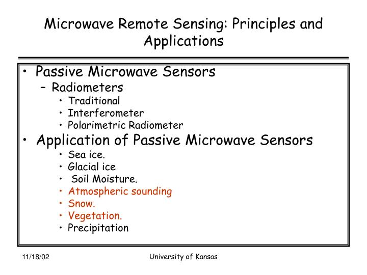Microwave remote sensing principles and applications1