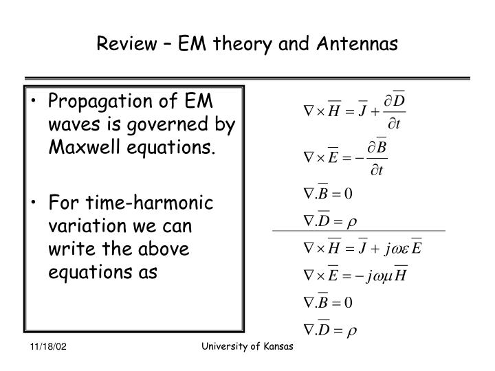 Review – EM theory and Antennas