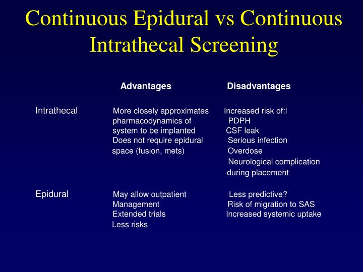Continuous Epidural vs Continuous Intrathecal Screening