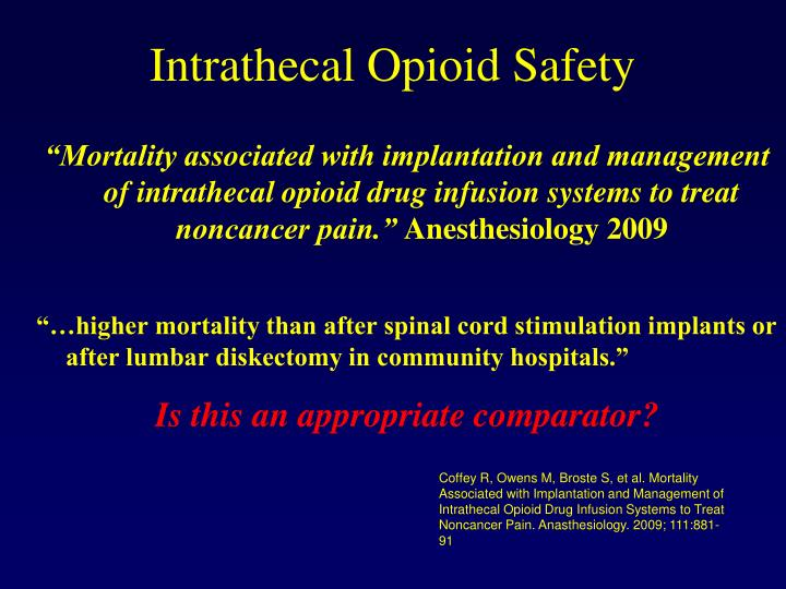 Intrathecal Opioid Safety