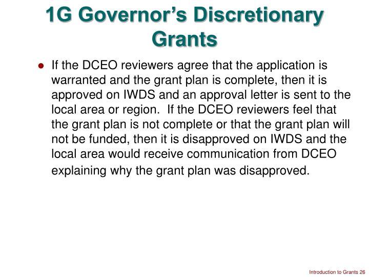 1G Governor's Discretionary Grants